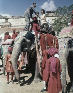 First lady Jacqueline Kennedy is shown riding an elephant during a visit to India, March 1962. (AP Photo)